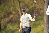 Bernd Wiesberger of Austria plays at the Blackstone Golf Club during the Ballantine&#39;s Championship in Seoul on April 28. Wiesberger was within a round of claiming his maiden European Tour victory after running away with the lead