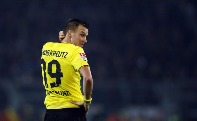 Borussia Dortmund's Grosskreutz reacts after their German first division Bundesliga soccer match against Bayer Leverkusen in Dortmund