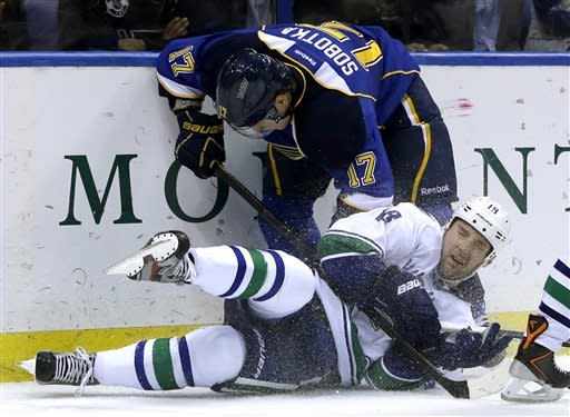 Blues beat Canucks 2-1 in shootout