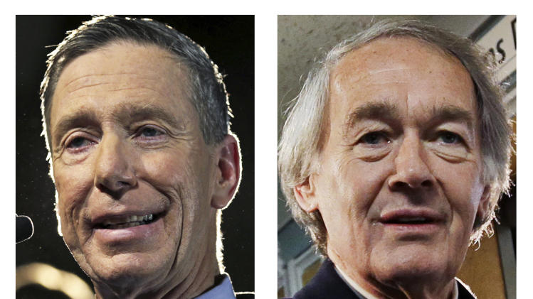 This panel of 2013 file photos show Democrat candidates for U.S. Senate, Reps. Stephen Lynch, left, and Edward Markey, right, vying for their party's nomination in the special April 30, 2013 primary. (AP Photos)