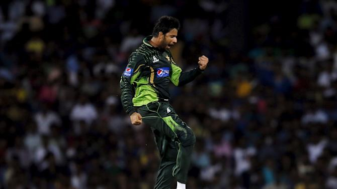 Pakistan's Wasim celebrates after taking the wicket of Sri Lanka's Mathews during their first Twenty 20 cricket match in Colombo