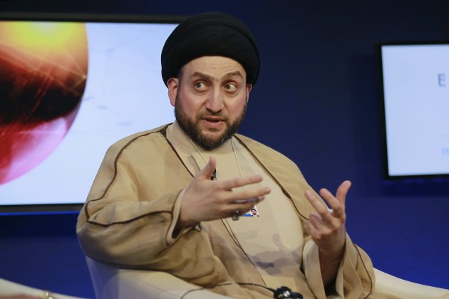 "Head of the Islamic Supreme Council of Iraq Ammar al-Hakim speaks during the ""Political Islam and Governance"" session  at the King Hussein Convention Centre, at the Dead Sea"