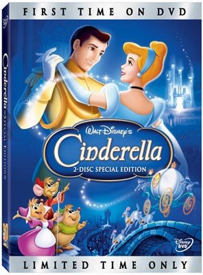 The box art from Walt Disney Pictures' DVD release of Cinderella