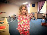My daughter loving Pajama Day at preschool.