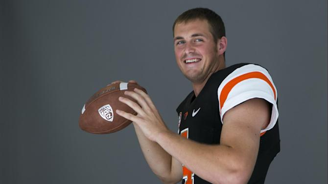 Oregon State quarterback Sean Mannion takes questions at the 2014 Pac-12 NCAA college football media days at Paramount Studios in Los Angeles Thursday, July 24, 2014. (AP Photo)