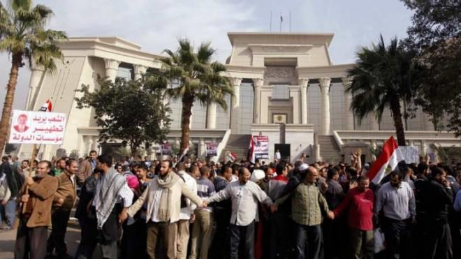 Supporters of Egyptian President Mohamed Morsi rally in front of the Supreme Constitutional Court in Maadi, south of Cairo, on Dec. 2.