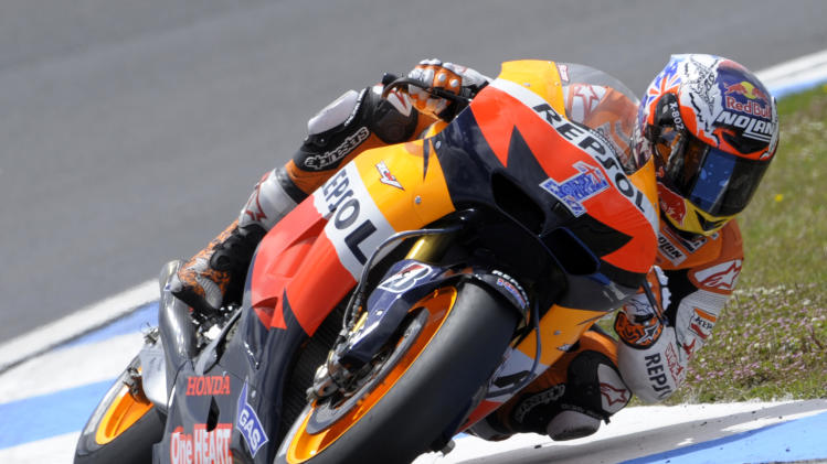 Repsol Honda's Australian Casey Stoner rides on May 5, 2012 during the Moto GP qualifying practice for the Portuguese Grand Prix in Estoril, on the outskirts of Lisbon. AFP PHOTO / MIGUEL RIOPAMIGUEL RIOPA/AFP/GettyImages