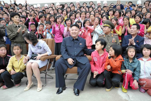 North Korean leader Kim Jong-un and wife Ri Sol-ju visit the Pyongyang Myohyangsan Children's Camp, situated at the foot of Mt. Myohyang in North Phyongan Province in this photo released by North Kore