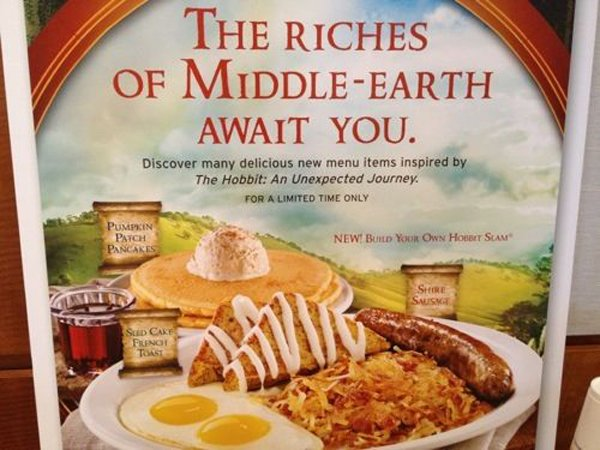 The Hobbit Denny's Menu: Credit GrubGrade.com