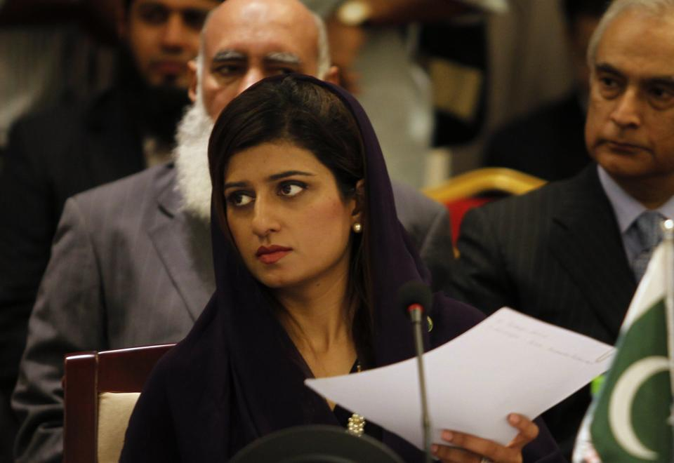 Pakistani Foreign Minister Hina Rabbani Khar listens to a speaker at the South Asian Association for Regional Cooperation (SAARC) foreign ministers meeting in Addu, Maldives, Wednesday, Nov. 9, 2011.(AP Photo/ Eranga Jayawardena)