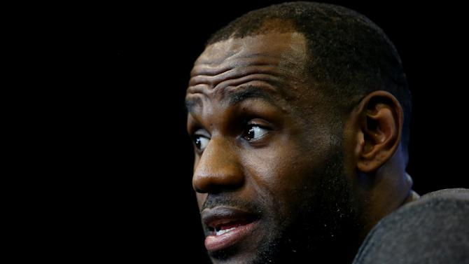 LeBron James speaks to the media during the 2014 NBA Finals at the San Antonio Spurs practice facility, in San Antonio, Texas, on June 14, 2014