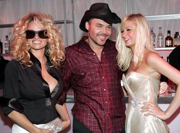Pamela Anderson, David LaChapelle and Paris Hilton 13th Annual Elton John AIDS Foundation Oscar Party West Hollywood, CA - 2/27/05