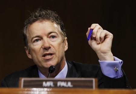 U.S. Senator Paul speaks during a Senate homeland security and governmental affairs investigations subcommittee hearing in Washington
