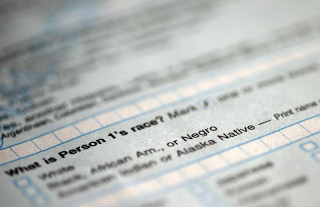 "In this photograph of a sample 2010 US Census form, obtained by The Associated Press shows question 9: ""What is Person 1's race"", on the first page of the 2010 Census form, with options for White: Bla"