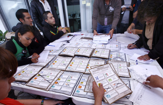 Election officials and party representatives recount votes at an electoral institute district council in Mexico City, Thursday, July 5, 2012. Of the 143,000 ballot boxes used during last Sunday&#39;s general elections, 78,012, or more than half of the total, will be opened and the votes recounted, according to Mexican electoral officials. (AP Photo/Marco Ugarte)