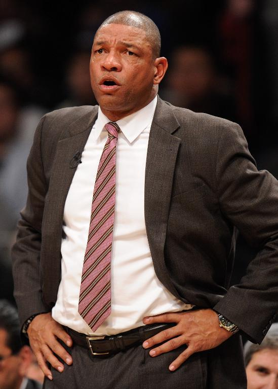 Los Angeles Clippers head coach Doc Rivers directs his team during the second half against the Brooklyn Nets, at Barclays Center in New York, on December 12, 2013