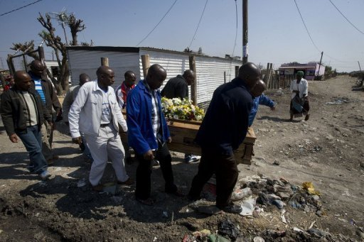<p>A group of men carry the body of Mpuzeni Ngxande, one of the 34 striking miners who were killed by police on August 16 near the Lonmin mine in Marikana. Last week, 270 miners were charged with murder over the August 16 deaths, sparking outrage.</p>