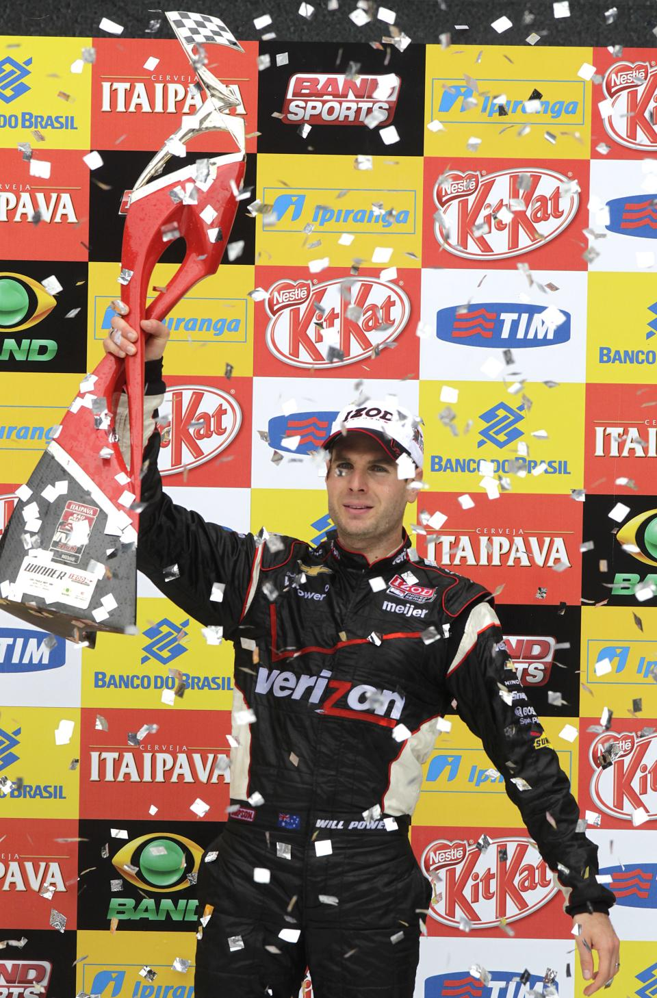 IndyCar driver Will Power, of Australia, celebrates after winning the the IndyCar Sao Paulo 300 in Sao Paulo, Brazil, Sunday, April 29, 2012. (AP Photo/Andre Penner)