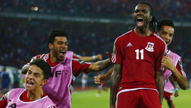 Javier Balboa of Equatorial Guinea celebrates after scoring second goal against Tunisia during their quarter-final soccer match of the 2015 African Cup of Nations in Bata