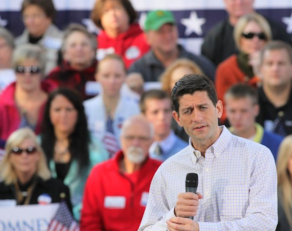 Republican vice presidential candidate Paul Ryan speaks to a crowd in Clinton, Iowa Tuesday, Oct. 2, 2012. (AP Photo/The Quad City Times, Kevin Schmidt)