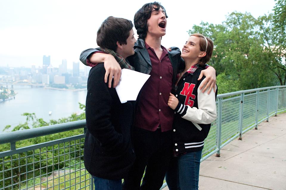 "This image released by Summit Entertainment shows, from left, Logan Lerman, Ezra Miller and Emma Watson in a scene from ""The Perks of Being a Wallflower."" (AP Photo/Summit Entertainment, John Bramley)"