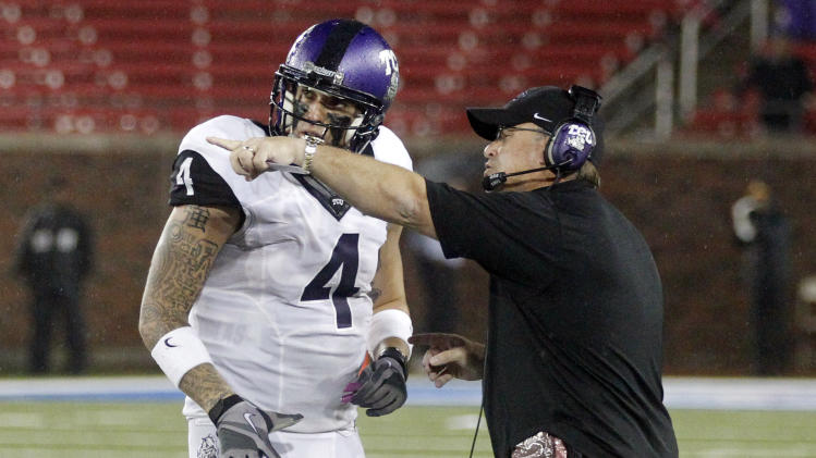 TCU head coach Gary Patterson makes his point with TCU quarterback Casey Pachall (4) during the fourth quarter of a NCAA college football game on Saturday, Sept. 29, 2012, in Dallas. TCU won 24-16. (AP Photo/John F. Rhodes)
