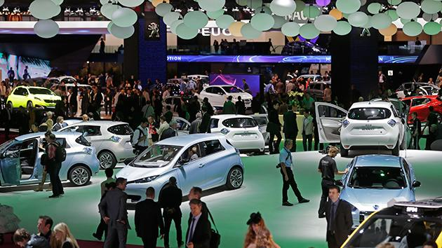Overview of the Renault booth during the press day on the eve of the opening of the Paris Auto Show.