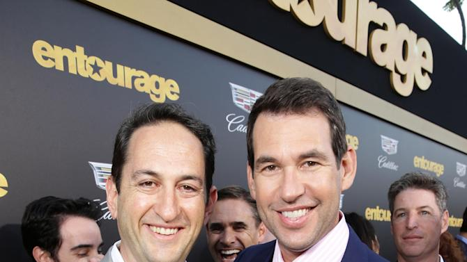 "Greg Silverman, President of Creative Development and Worldwide Production and Writer/Director/Producer Doug Ellin at Warner Bros. Pictures and seen at Warner Bros. Premiere of ""Entourage"" held at Regency Village Theatre on Monday, June 1, 2015, in Westwood, Calif. (Photo by Eric Charbonneau/Invision for Warner Bros./AP Images)"