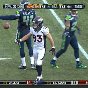 Denver Broncos quarterback Peyton Manning to wide receiver Wes Welker for 15 yards