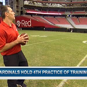 Kurt Warner throws a bullet to Arizona Cardinals WR Larry Fitzgerald