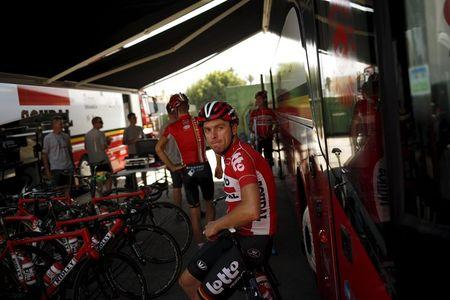 Lotto-Soudal rider Kris Boeckmans of Belgium rests after a team training session on the eve of La Vuelta cycling race, in Malaga