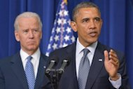 US President Barack Obama and Vice President Joe Biden on January 16, 2013 in Washington, DC. Biden arrived in Paris Sunday for talks with President Francois Hollande on issues that will include France's military intervention in Mali, the Syria conflict, and Iran's alleged bid to build a nuclear bomb