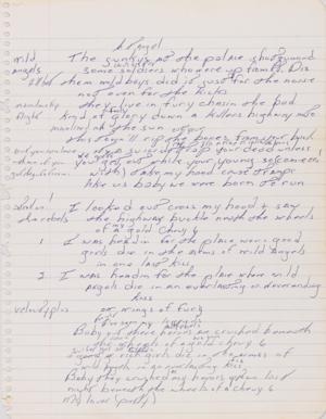 """FILE - This file image released by Sotheby's shows a page from a handwritten manuscript of Bruce Springsteen's 1975 hit """"Born to Run."""" The handwritten, working lyric sheet for Bruce Springsteen's 1975 hit """"Born to Run"""" could sell for as much as $100,000 on Thursday Dec. 5, 2013, Sotheby's has predicted. (AP Photo/Sotheby's, File)"""
