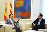 "<p>Spanish Prime Minister Mariano Rajoy (right) listens to Catalonia's regional president Artur Mas during their meeting at the Moncloa palace in Madrid on September 20. Rajoy said there was ""no margin"" for negotiations on letting the region raise and spend its own taxes.</p>"