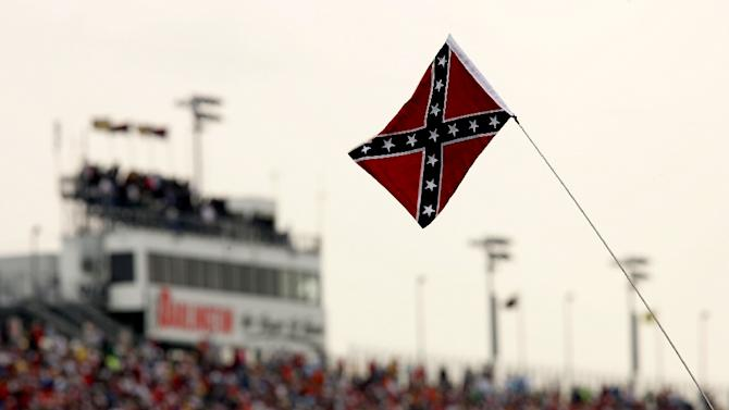 A Confederate flag is seen during a NASCAR series race at Darlington Raceway in South Carolina