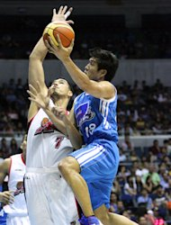 James Yap drives against Sonny Thoss. (PBA Images)