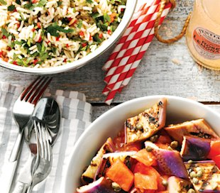 Vegetarian BBQ side salads: Herbed brown rice salad, Grilled eggplant salad
