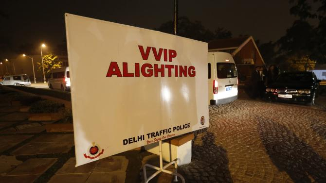 A sign for VVIPs is displayed at the main entrance to the official Indian state dinner for U.S. President Barack Obama at the Rashtrapati Bhavan presidential palace in New Delhi