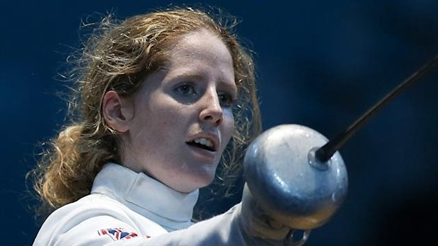 Britain's Corinna Lawrence celebrates defeating Chile's Caterin Bravo Aranguiz in fencing at London 2012 (Reuters)