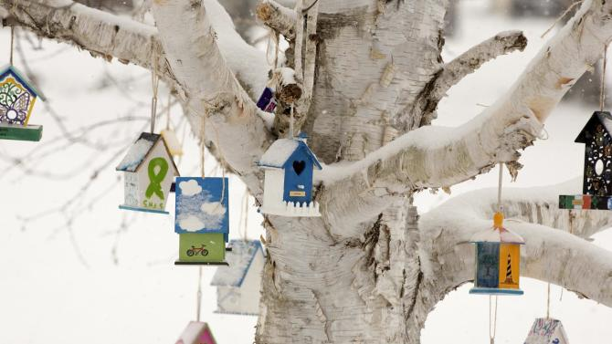 Personalized birdhouses are part of a memorial for the victims of the Sandy Hook Elementary School shooting in Newtown