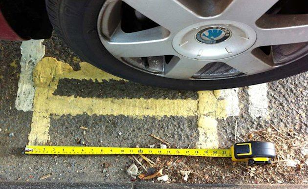 Residents are baffled after council contractors painted a stretch of double yellow lines - just 21 inches long.  Motorists will be fined £50 or £70 if they park on the lines in Canterbury, Kent, which
