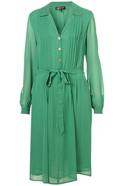 Green dress shirt dress, $96, topshop.com