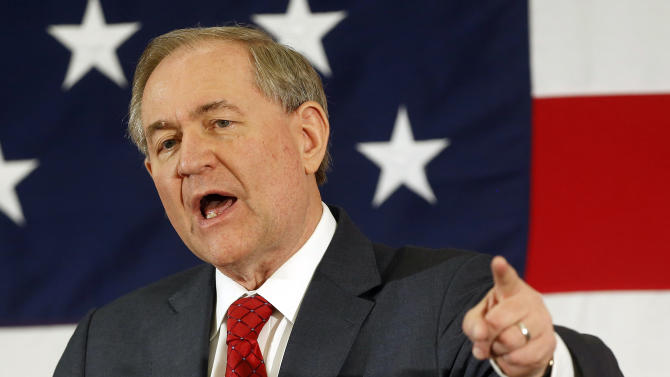 FILE - In this April 17, 2015, file photo, former Virginia Gov. Jim Gilmore speaks at a Republican Leadership Summit in Nashua, N.H. The Republican presidential contest has grown to 17 candidates with the July 29 entry of Jim Gilmore as he files the necessary paperwork with the Federal Election Commission.. (AP Photo/Jim Cole, File)