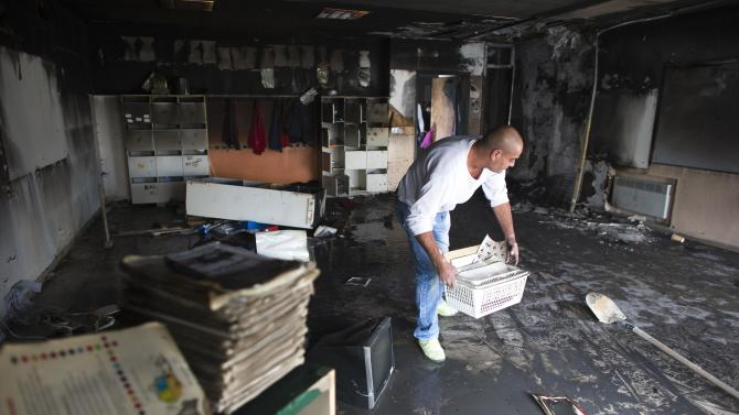File picture of burnt classroom after an arson attack in Jerusalem