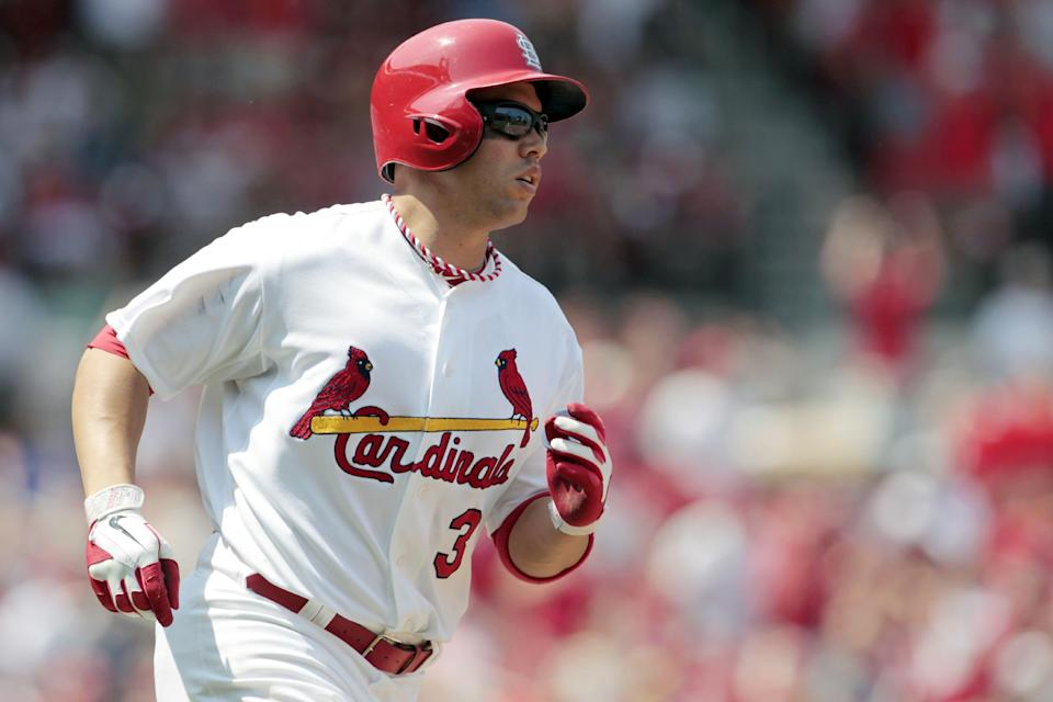 St. Louis Cardinals' Carlos Beltran rounds the bases after hitting a three-run home run during the fifth inning of a baseball game against the Philadelphia Phillies, Sunday, May 27, 2012, in St. Louis. (AP Photo/Jeff Roberson)