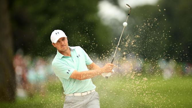 Jordan Spieth plays his third shot out of a bunker on the fourth hole during the second round of The Barclays at The Ridgewood Country Club on August 22, 2014 in Paramus, New Jersey