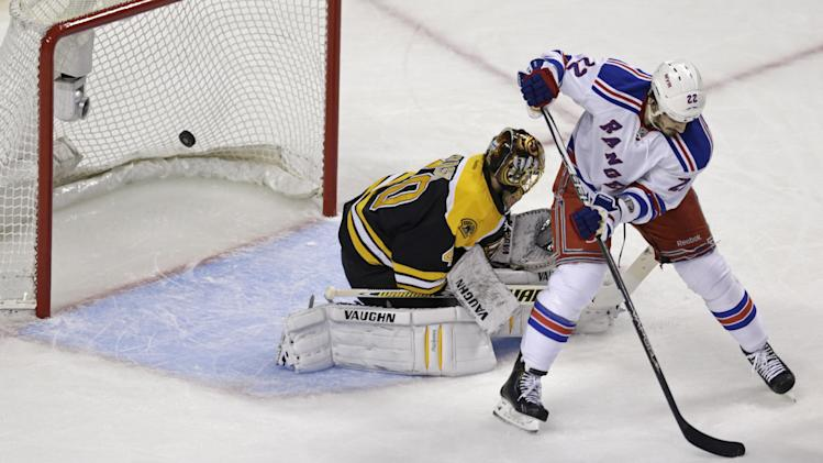 Boston Bruins goalie Tuukka Rask (40) is blocked by New York Rangers center Brian Boyle (22) as a puck shot by Rangers' Dan Girardi sails into the net for a goal during the first period in Game 5 of the Eastern Conference semifinals in the NHL hockey Stanley Cup playoffs in Boston, Saturday, May 25, 2013. (AP Photo/Charles Krupa)