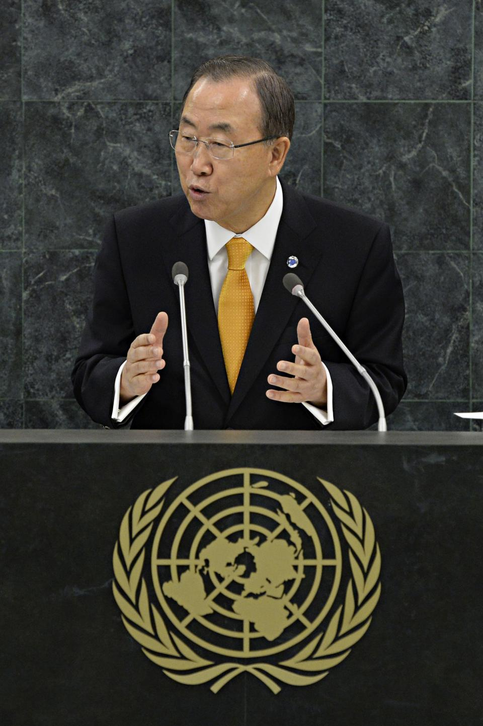 U.N. Secretary General Ban Ki-moon speaks during the 68th United Nations General Assembly on Tuesday Sept. 24, 2013 in New York. (AP Photo/Andrew Burton,Pool)