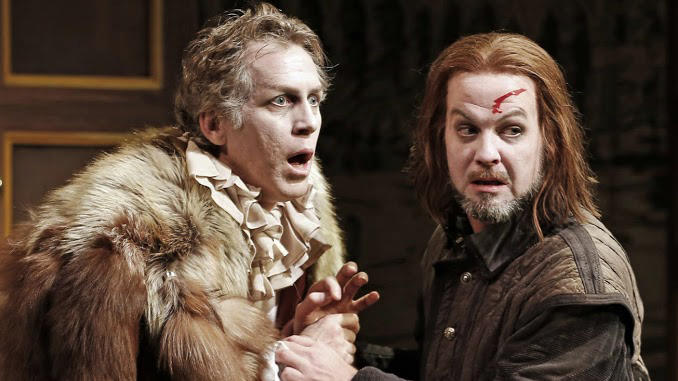 "This undated publicity photo released by David Gersten and Associates shows, from left, Stephen Spinella and Cameron Folmar, in a scene from Red Bull Theater's production of Ben Jonson's classic ""Volpone,"" currently performing off-Broadway at the Lucille Lortel Theatre in New York.  (AP Photo/David Gersten and Associates, Carol Rosegg)"