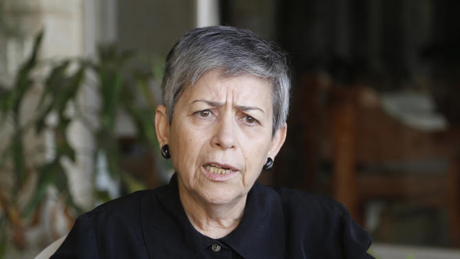 Hanaa Eduar, a prominent Iraqi human rights activist, speaks during an interview with Reuters in Baghdad